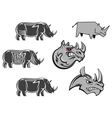 African rhinoceros characters vector image