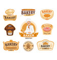 bakery and pastry or patisserie icons vector image