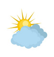blue cloudy sun icon flat style vector image vector image