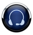 Blue honeycomb headset icon vector image vector image
