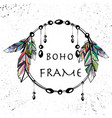 boho style circle frame vector image vector image