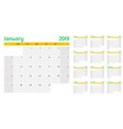 calendar planner 2019 template vector image vector image