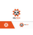 car helm and gear logo combination vector image vector image