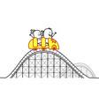 cartoon couple on roller coaster vector image