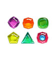 cartoon set of 6 shiny gemstones of vector image