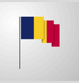 chad waving flag creative background vector image vector image