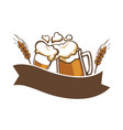 cheering beer glasses with wheat and ribbon copy vector image