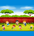 children playing soccer with their team vector image vector image