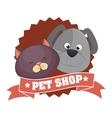 cute cartoon doggy cat pet shop ribbon vector image vector image