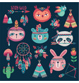 cute woodland boho tribal characters on dark vector image vector image