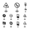 different types of road signs monochrome icons in vector image