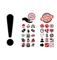 Exclamation Sign Flat Icon with Bonus vector image vector image