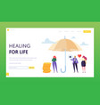 family medical life insurance landing page concept vector image vector image
