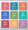 fresh seafood delights premium quality labels vector image vector image