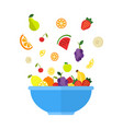 fruits and berries are falling in big blue bowl vector image