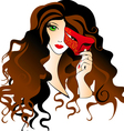 girl with a carnival mask vector image vector image