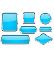 glass buttons with chrome frame set of blue shiny vector image vector image