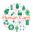 green human care concept vector image vector image