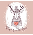 hand drawn with cute deer merry christmas card vector image vector image