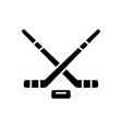 hockey icon black sign on vector image vector image