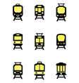 isolated train icons set vector image vector image