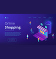 isometric online shopping and voice assistant vector image