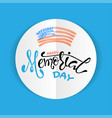 memorial day with stars ribbon and lettering vector image