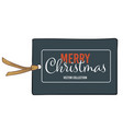 merry christmas greeting card or tag with thread vector image