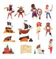 pirate cartoon icons collection vector image