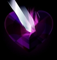 purple heart-crystal and blade vector image vector image