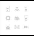 religion outline icons set
