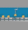 robotic packaging conveyor belt vector image