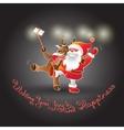 Santa Claus and Deer make a Christmas Photo vector image vector image