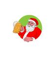 Santa Claus Drinking Beer Drawing vector image vector image