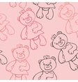 seamless pattern with bears girls vector image vector image