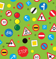 Seamless pattern with road signs - funny design vector image