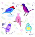 set cute little colorful birds isolated on vector image