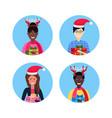 set mix race man woman face avatar new year merry vector image