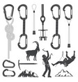 set of alpine climbing equipment silhouette icons vector image