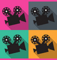 set of icons on the camera in flat colored vector image vector image