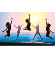 Silhouettes of Girls Jumping on the Beach vector image vector image