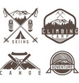 skiing canoe and adventure camp vintage labels vector image vector image