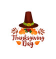 thanksgiving day icon of pilgrim hat autumn leaf vector image vector image