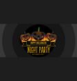 three smiling halloween pumpkin party banner vector image