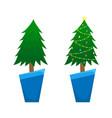 two christmas trees christmas tree vector image vector image