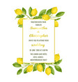 wedding invitation card with lemon brunches vector image vector image