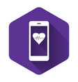 white smartphone with heart rate monitor function vector image vector image