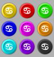 zodiac Cancer icon sign symbol on nine round vector image