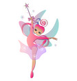 fairy with magic stick vector image