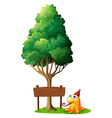 A wooden signboard under the tree beside the vector image vector image